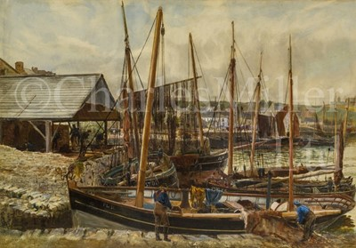 Lot 15 - THOMAS MARIE MADAWASKA HEMY (BRITISH, 1852-1937) : Fishing boats, Peel Harbour, Isle of Man