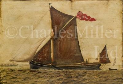 Lot 14 - ENGLISH PRIMITIVE SCHOOL, CIRCA 1890 : The sprit sail barge 'Annie'