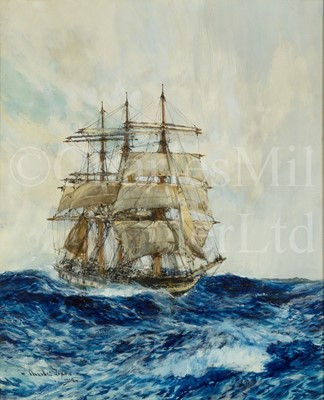 Lot 23 - CHARLES EDWARD DIXON (BRITISH, 1872–1934) : A windbagger in rough seas