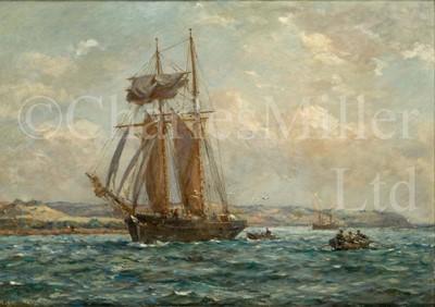 Lot 21 - BERNARD FINNEGAN GRIBBLE (BRITISH, 1873-1962) : A topsail schooner in the Carrick Roads, Cornwall