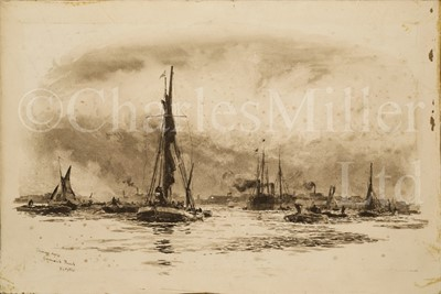 Lot 13 - WILLIAM LIONEL WYLLIE (BRITISH, 1851-1931) : Showery Day, Greenwich Reach; Square-rigged ships anchored off Dartmouth