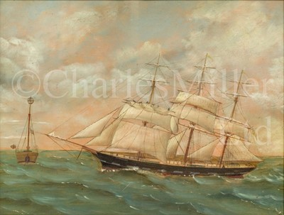 Lot 26 - ENGLISH PRIMITIVE SCHOOL, LATE 19TH CENTURY : The barque 'Trafalgar' passing a light ship