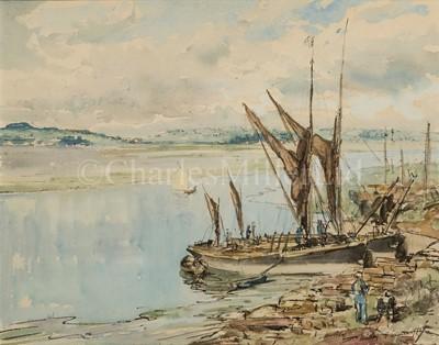 Lot 8 - JAMES MCBEY (BRITISH, 1883-1959) : Thames barges at Mistley, Essex