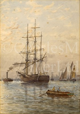 Lot 18 - ATTRIBUTED TO GEORGE STANFIELD WALTERS (BRITISH, 1838-1924) : A square rigger being tugged up the Thames