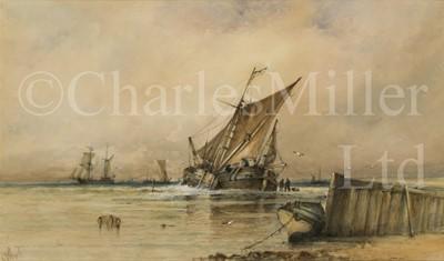 Lot 10 - ALBERT ERNEST MARKES (BRITISH, 1865-1901) : A Dutch bouyer unloading a catch
