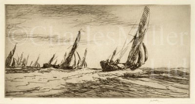 Lot 4 - JAMES MCBEY (BRITISH, 1883-1959) :  The Thames barge race, the start, 1935; The Thames barge race, the Sara winning, 1935; Burnham-on-Crouch,1921