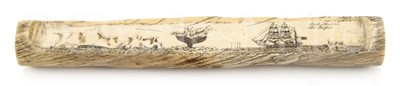 Lot 47 - Ø A FINE AND UNUSUAL SECTION OF SCRIMSHAW DECORATED NARWHAL TUSK