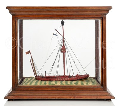 Lot 25 - A WELL-PRESENTED SAILOR-MADE WATERLINE MODEL OF THE SOLWAY FIRTH LIGHTSHIP SELKER, CIRCA 1890