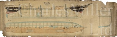 Lot 24 - 'DECK PLAN OF SHIP No. 253': A ¼IN:1FT SCALE PROFILE WATERCOLOUR LINE DRAWING FOR THE ARDMORE, BY BARCLAY, CURLE & CO., 1875