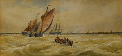 Lot 9-THOMAS BUSH HARDY (BRITISH, 1842-1897) - Deal and Calais fishing boats off Calais