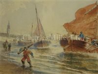 Lot 8-FRANZ JOHANN WILHELM HÜNTEN (GERMAN, 1822-1887) - Dutch coastal scenes, a set of three