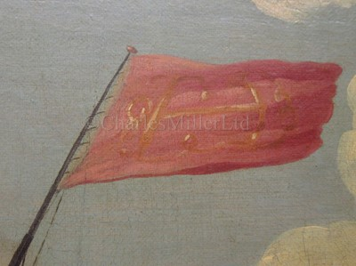 Lot 17-PETER MONAMY (BRITISH, 1681-1749) - An Admiralty yacht escorting a Vice Admiral of the Red off a coast