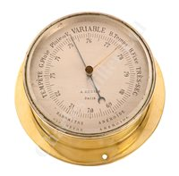 Lot 43-AN ANEROID BAROMETER BY A. REDIER, PARIS, FOR THE IMPERIAL RUSSIAN NAVY CIRCA 1890