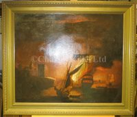 Lot 16-PETER MONAMY (BRITISH, 1681-1749) - A ship on fire at night