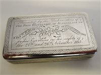 Lot 122 - A PRESENTATION SILVER SNUFF BOX, CIRCA 1835