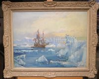 Lot 13-δ FRANK HENRY MASON (BRITISH, 1875-1965) -Willem Barentsz probably anchored off Spitzbergen Island in 1596