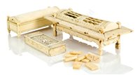 Lot 65-AN EARLY 19TH CENTURY FRENCH NAPOLEONIC PRISONER-OF-WAR BONE DOMINO SET; and two other examples (one incomplete)
