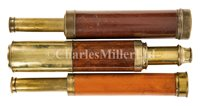 Lot 236 - A 2IN. FIVE DRAW MAHOGANY AND BRASS TELESCOPE...