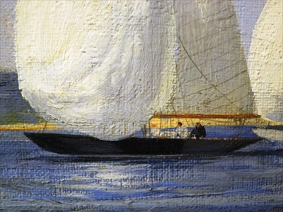 Lot 20 - δ MONTAGUE DAWSON (BRITISH, 1895-1973): Yeoman and Lalage - six metre yachts off Isle of Wight
