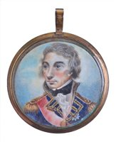 Lot 87 - A MINIATURE PORTRAIT MEDALLION OF LORD NELSON,...