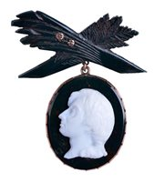 Lot 90 - A BLOODSTONE AND WHITE GLASS CAMEO...