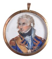 Lot 94 - A MINIATURE PORTRAIT MEDALLION OF LORD NELSON,...