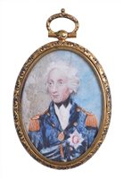 Lot 101 - A MINIATURE PORTRAIT MEDALLION OF LORD NELSON,...