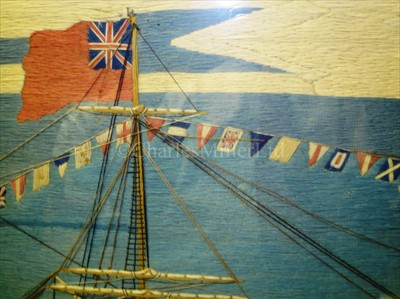 Lot 157 - A FINE SAILOR'S WOOLWORK OF H.M.S. PRINCE...