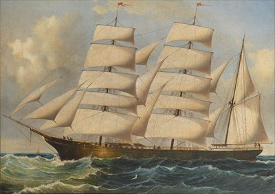 Lot 17 - ANONYMOUS (19TH-CENTURY)<br/>A barque under full...