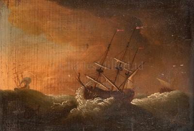 Lot 23 - AFTER WILLIAM VAN DE VELDE<br/>A warship sailing...