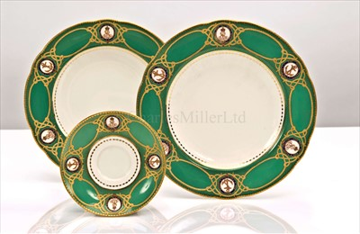 Lot 47 - TWO PLATES AND A SAUCER FROM A SERVICE...