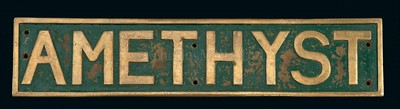 Lot 124 - A STARBOARD SIDE CAST BRASS NAME BOARD FOR THE...