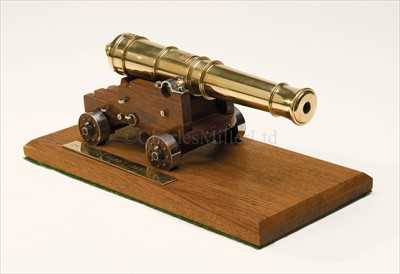 Lot 48 - A WELL-PRESENTED BRASS AND WOOD MODEL OF A...