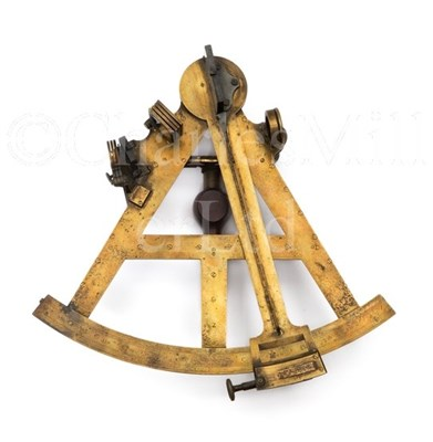 Lot 217 - A 10IN. RADIUS LACQUERED-BRASS VERNIER SEXTANT...