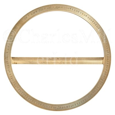Lot 227 - AN 18TH-CENTURY CIRCULAR BRASS PROTRACTOR BY...