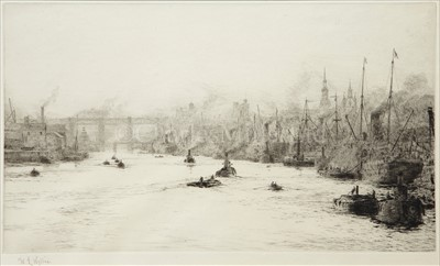 Lot 23 - W.L. WYLLIE (1851-1931)<br/>Four views of shipping...