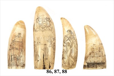 Lot 88 - A 19TH-CENTURY SAILOR'S SCRIMSHAW-DECORATED...