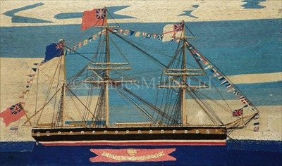 Lot 89 - A FINE SAILOR'S WOOLWORK OF H.M.S. PRINCE...