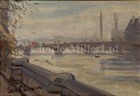 Lot 5 - SCOTT BROWN (BRITISH, 20TH-CENTURY)<br/>The Skylon...